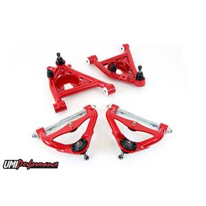 UMI Performance 303233-R GM G-Body Up and Low Front Control Arm Kit Delrin No Upper Ball Joint -RED