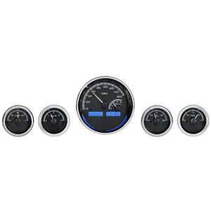 Dakota Digital Universal 5 Round Gauges Analog Dash Black Alloy / Blue VHX-1022-K-B