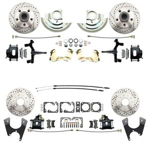 "64-72 A-body 4 Wheel Disc Brake Wheel Kit Dilled Slotted Black Caliper 2"" Drop"