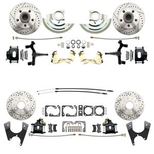 "64-72 A-body 4 Wheel Disc Brake Wheel Kit Dilled Slotted Black Caliper 2"" Drop"