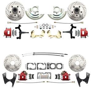 "64-72 A-body 4 Wheel Disc Brake Wheel Kit Dilled Slotted Red Caliper 2"" Drop"
