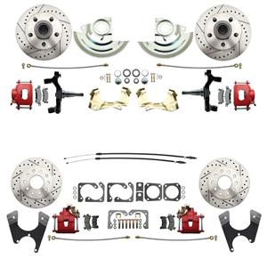"64-72 A-body 4 Wheel Disc Brake Wheel Kit Dilled Slotted Red Caliper 2"" Drop"