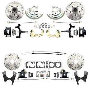 "F/X Body 4 Wheel Disc Brake Wheel Kit Dilled Slotted Black Caliper 2"" Drop"
