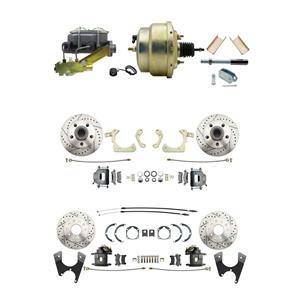 """Tri Five 4 Wheel Disc Brake Power Kit 8"""" Booster Drilled Slotted Raw Caliper"""