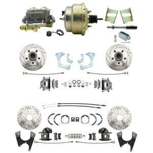 59-64 Chevy Full Size Power 4 Wheel Disc Brake Kit Drilled Slotted Raw Caliper