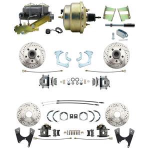 59-64 Chevy Full Size Power 4 Wheel Disc Brake Kit Drilled Slotted Raw Caliper