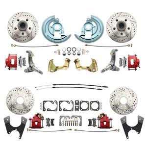 62-67 Nova Front & Rear Disc Brake Wheel Kit Drilled Slotted Red Caliper