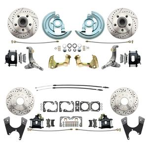 62-67 Nova Front & Rear Disc Brake Wheel Kit Drilled Slotted Black Caliper