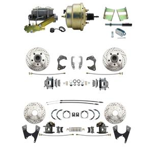 65-68 Chevy Full Size Power 4 Wheel Disc Brake Kit Drilled Slotted Raw Caliper