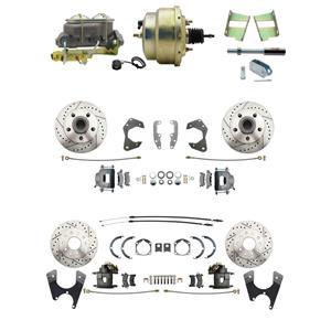 65-68 Chevy Full Size Power 4 Wheel Disc Brake Kit Drilled Slotted Raw Caliper