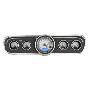 Dakota Digital 65-66 Ford Mustang VHX Analog Gauges Silver Blue w/ Carrier