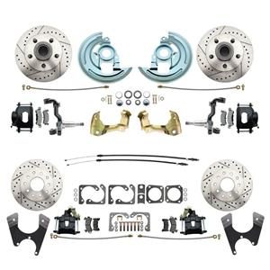 64-72 A-body 4 Wheel Disc Brake Wheel Kit Dilled Slotted Black Caliper No Drop