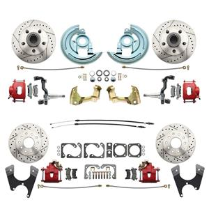 64-72 A-body 4 Wheel Disc Brake Wheel Kit Dilled Slotted Red Caliper No Drop