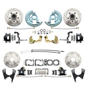 67 F-Body 4 Wheel Disc Brake Wheel Kit Dilled Slotted Black Caliper No Drop