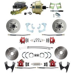 59-64 Chevy Full Size Power 4 Wheel Disc Brake Kit Standard Rotor Red Caliper