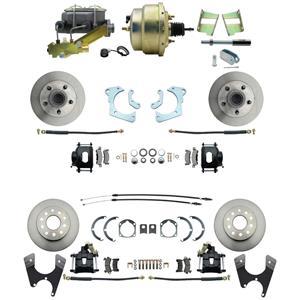 59-64 Chevy Full Size Power 4 Wheel Disc Brake Kit Standard Rotor Black Caliper