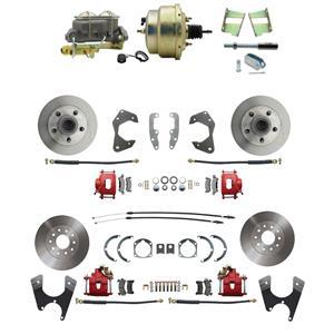 65-68 Chevy Full Size Power 4 Wheel Disc Brake Kit Standard Rotor Red Caliper