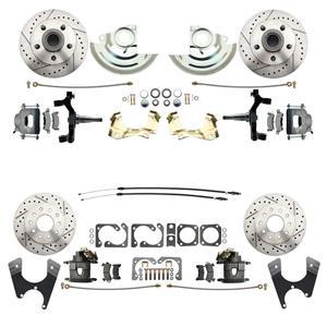 "64-72 A-body 4 Wheel Disc Brake Wheel Kit Dilled Slotted Raw Caliper 2"" Drop"