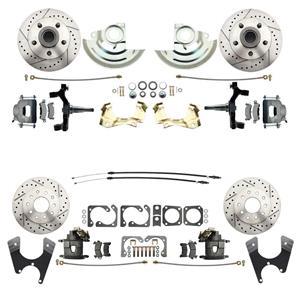 "F/X Body 4 Wheel Disc Brake Wheel Kit Dilled Slotted Raw Caliper 2"" Drop"