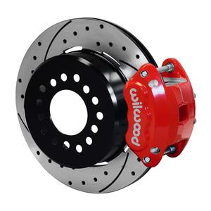 "Wilwood Rear Disc Brake Kit C10 Rear End w/ 2.42 Offset 12.19"" Drilled Rotor Red"