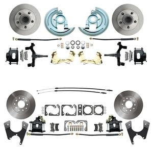 "64-72 A-body 4 Wheel Disc Brake Wheel Kit Standard Rotor Black Caliper 2"" Drop"