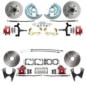 "64-72 A-body 4 Wheel Disc Brake Wheel Kit Standard Rotor Red Caliper 2"" Drop"
