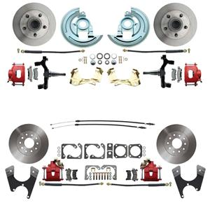 "64-72 A-body 4 Wheel Disc Brake Wheel Kit Standard Rotor Red Caliper 2"" Drop"