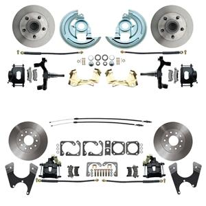 "67 F-Body 4 Wheel Disc Brake Wheel Kit Standard Rotor Black Caliper 2"" Drop"