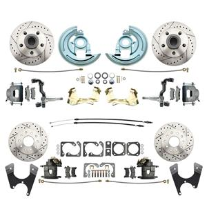 64-72 A-body 4 Wheel Disc Brake Wheel Kit Dilled Slotted Raw Caliper No Drop