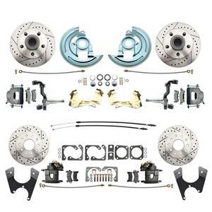 F/X Body 4 Wheel Disc Brake Wheel Kit Dilled Slotted Raw Caliper No Drop