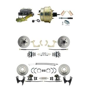 "Tri Five 4 Wheel Power Disc Brake Kit 8"" Zinc Booster Standard Rotor Raw Caliper"
