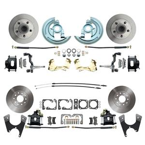 64-72 A-body 4 Wheel Disc Brake Wheel Kit Standard Rotor Black Caliper No Drop