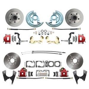 64-72 A-body 4 Wheel Disc Brake Wheel Kit Standard Rotor Red Caliper No Drop