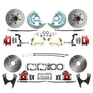 F/X Body 4 Wheel Disc Brake Wheel Kit Standard Rotor Red Caliper No Drop