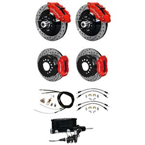 Wilwood 73-77 El Camino 4 Wheel Manual Disc Brake Kit Drilled Rotor Red Caliper