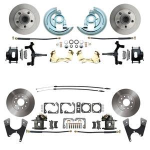 "64-72 A-body 4 Wheel Disc Brake Wheel Kit Standard Rotor Raw Caliper 2"" Drop"