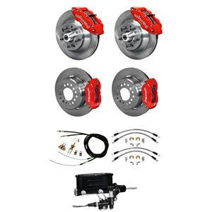 Wilwood 73-77 El Camino 4 Wheel Manual Disc Brake Kit Plain Rotor Red Caliper