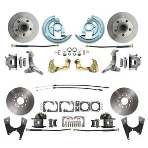 62-67 Nova Front & Rear Disc Brake Wheel Kit Standard Rotor Raw Caliper