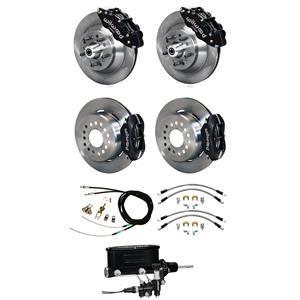 Wilwood 73-77 El Camino 4 Wheel Manual Disc Brake Kit Plain Rotor Black Caliper