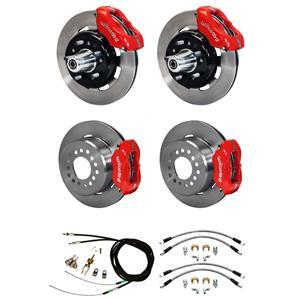 """Wilwood 55-57 Bel Air 150 210 4 Wheel Disc Brake Kit 12"""" Plain Rotor Red Caliper"""