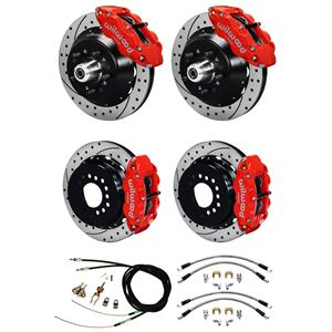 "Wilwood 65-69 Mustang 4 Wheel Disc Big Brake Kit 13"" Drilled Rotor Red Caliper"