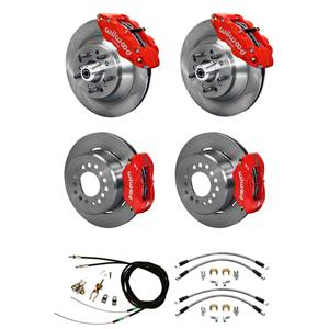 Wilwood Mopar B / E Body 4 Wheel Disc Big Brake Kit Plain Rotor Red Caliper