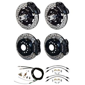 "Wilwood 55-57 Bel Air 210 4 Wheel Disc Brake Kit 12"" Drilled Rotor Black Caliper"