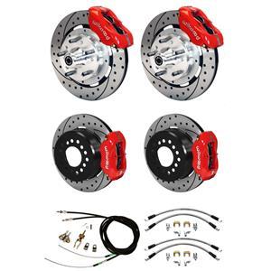 "Wilwood Mopar B / E Body 4 Wheel Disc Big Brake Kit 12"" Drill Rotor Red Caliper"