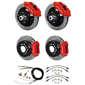 Wilwood 70-78 Camaro 4 Wheel Disc Brake Kit Drilled Rotor Red Caliper