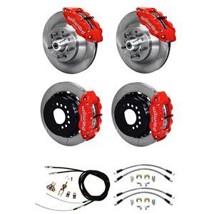 """Wilwood Mopar B / E Body 4 Wheel Disc Big Brake Kit 13"""" Plain Rotor Red"""