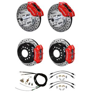 "Wilwood 64-74 Chevy A F X Body 4 Wheel Disc Brake Kit 11"" Drilled Red Caliper"
