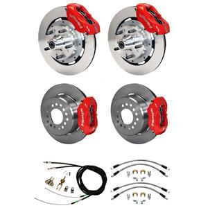 "Wilwood 65-69 Mustang 4 Wheel Disc Big Brake Kit 12"" Plain Rotor Red Caliper"