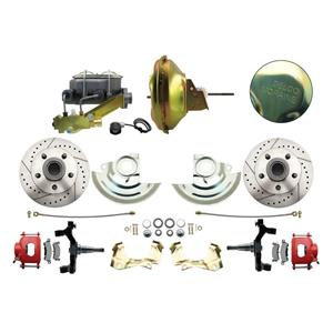 """F/X Body Front Power Disc Brake 11"""" Drilled Slotted Red Caliper 2"""" Drop"""