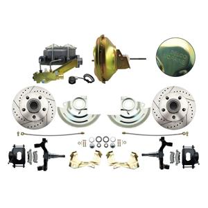 """67-72 A-body Front Power Disc Brake 11"""" Drilled Slotted Black Caliper 2"""" Drop"""